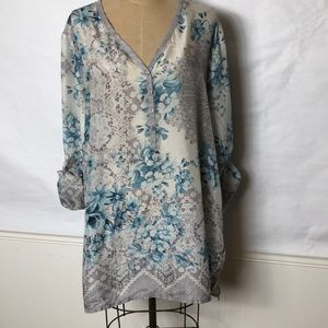Johnny Was silk floral/lace print button front top